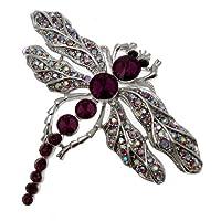 Acosta - Purple & AB Crystal Dragonfly Brooch