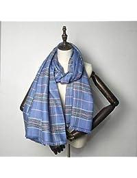 180347330b2a IBUP Écharpe en Cachemire à Pompons pour Femme Taille XL Épais Châle Bleu  foncé