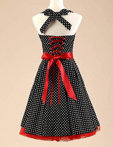 PU&PU Robe Aux femmes Trapèze Vintage , Points Polka Licou Au dessus du genou Coton / Polyester / Spandex black-xl