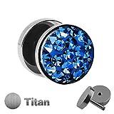 Treuheld | Titan Fake Plug mit KRISTALLEN - Titanium Ohrstecker zum Schrauben mit Zirkonia - Kirstall Ohr Fake Tunnel Piercing - Silber - mit Steinen und klarer Schutzschicht - Epoxy [3.] - blau