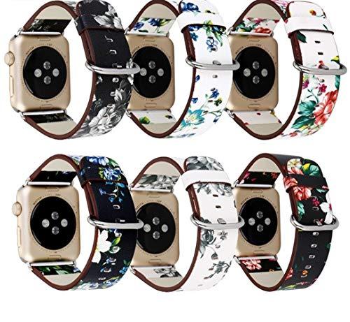 VisvimQ Lederband Edelstahl Schnalle gedruckt gartenuhr kompatibel mit iwatch |Robuste Armband-Serie for Iwatch-Serie Männer und Frauen Smart Watch Strap