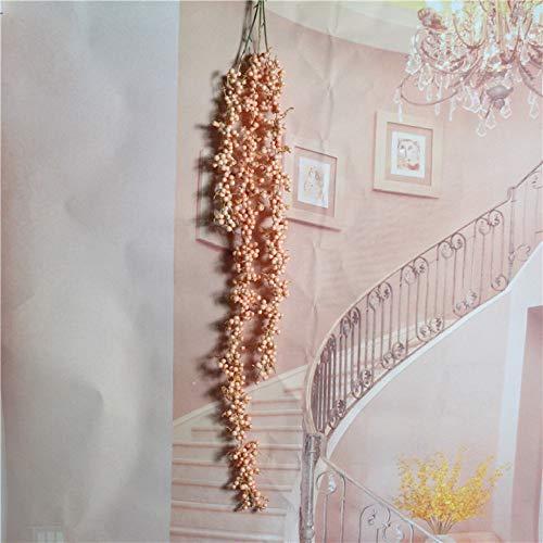 Yuhualiyi123 Pastorale Frische Simulationsblume Rattan Hängende Orchidee Golden Bell Willow Blume Rebe Kaffee Wohnzimmer Esszimmer Wanddekoration Dekoration Blume Bubble Lover Tränen 3pcs