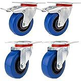 YAOBLUESEA Ruedas de Transporte de transporte Ruedas cargas pesadas rollos de muebles Elástico de goma azul