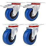 YAOBLUESEA Ruedas de Transporte de transporte Ruedas cargas pesadas rollos de muebles Elástico de goma azul (2 x Ø 100mm Ruedas 2 x ruedas Ø 100 mm de
