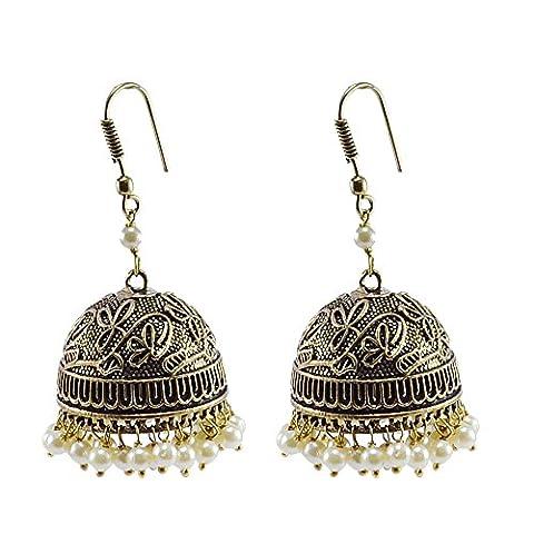 Silvestoo India Emerald Pearl Jhumka-Indian Jewellery-Traditional Earrings PG-104499