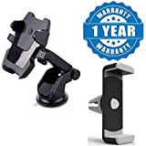 Captcha Long Neck One Touch Car Dashboard/Glass Mount Phone Holder With Car Air Vent Universal Mount Holder Stand Compatible With Xiaomi, Lenovo, Apple, Samsung, Sony, Oppo, Gionee, Vivo Smartphones (One Year Warranty)