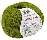 Biowolle Lane Mondial Bio Lana FINE Farbe 282 grün, 50g Reine Schurwolle zum Stricken, Babywolle Bio