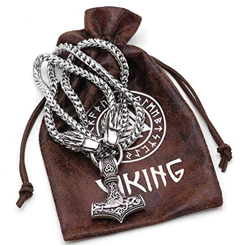 Kopf Muster Bären Kostüm - Viking Wolf Kopf Mit Thor Hammer Mjolnir Skandinavischen Bär Pfote Wolf Anhänger Halskette Mit Edelstahl Kette