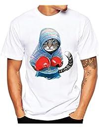 Longra☾ Camiseta Hombre, Camiseta de Cráneo Hombre Militares Camisetas Deporte Ropa Deportiva Camisa de Manga Corta de Camuflaje Slim Fit Casual Para Hombres Tees Tops Blusa