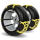 Qomolo 6er Schneeketten Auto Schneereifenketten Anti-Rutsch-Kette Für Autos SUV LKW PKW mit Handschuhe und Installations-Tools Passen Reifen 165 mm-285 mm Gelb