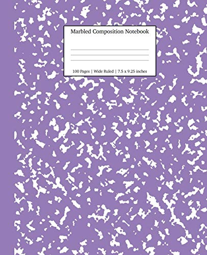 Marbled Composition Notebook: Lavender Marble Wide Ruled Paper Subject Book (School Essentials)