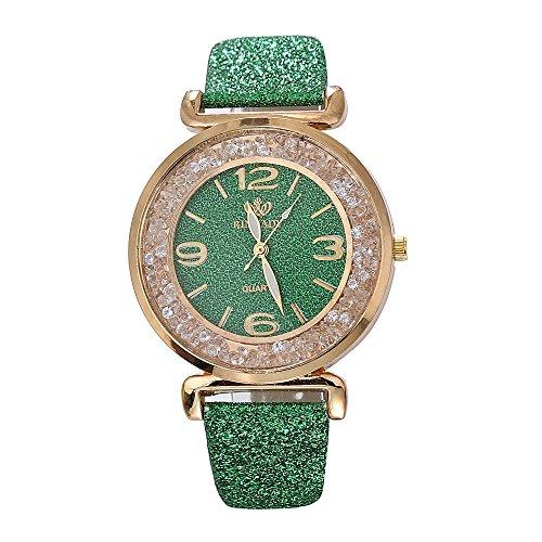 BaZhaHei Damen Uhren Mode-Frauen-Kristall-Edelstahl-analoge Quarz-Armbanduhr Wasserdicht Quarz Klassische Luxusuhr (Grün)