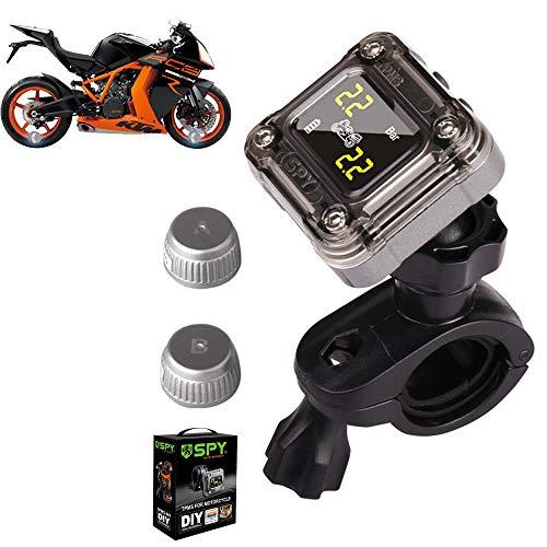 CHUDAN Motorrad Reifendrucküberwachungssystem mit 2 externen Sensoren, Mini TPMS Reifendruckmesser Reifendruckprüfer, LCD Display, Anti Diebstahl & Wasserdicht