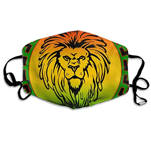 Women & Men Earloop Half Face Face Masks Mouth Mask Anti-Dust Respirator - Premium Windproof Cleaning Mouth Mask for Kids Youth Boys Girls (Rasta Lion Jamaican Reggae Flag) - Flag-peeling