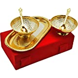 J.R. Handicrafts Gold and Silver Plated White Aluminium Set 2 Bowl 2 Spoon with Tray