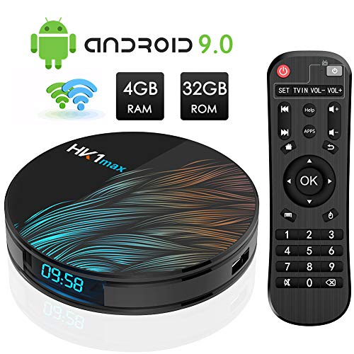 Android TV BOX, HK1 MAX RK3318 Quad-Core Android 9.0 TV BOX 4GB RAM/32GB ROM Supporto 2.4Ghz/5.0 Ghz WiFi Bluetooth 4.0, HDMI 4K DLNA 3D Smart TV BOX