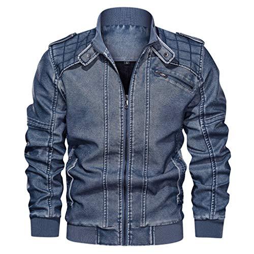 Dasongff Herren Lederjacke, Schlankes Design, Antik-Look, ausgewaschene Optik, Retro-Stil, Biker-Jacke
