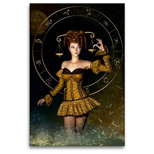 Mystische Magische Kostüm - Calvendo Premium Textil-Leinwand 80 cm x 120 cm hoch, Waage - Sternzeichen   Wandbild, Bild auf Keilrahmen, Fertigbild auf echter Leinwand, Leinwanddruck: - Frauen Edition Kunst Kunst