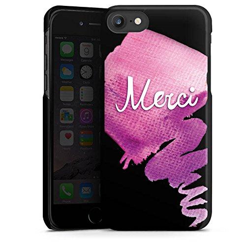 Apple iPhone 8 Silikon Hülle Case Schutzhülle Merci Danke Französisch Hard Case schwarz