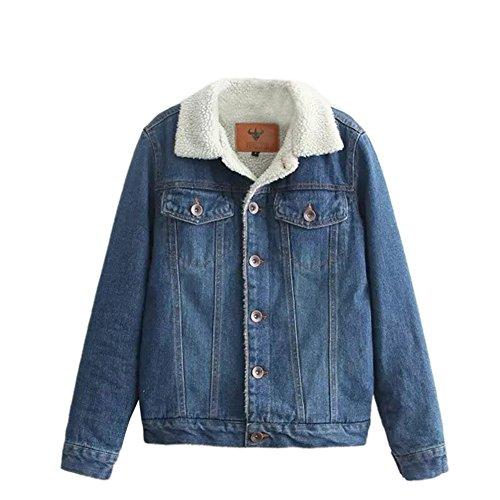 iBaste Gefüttert Jeansjacke Damen mit Fell Denim Jacket Trucker Jacke für damen Mantel Outwear-BU-S