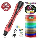 3D Stifte, 3D Pen mit 12 Farben Φ1,75 mm PLA Filament,【Neueste Version 2019】Lovebay 3D Drucker Stift mit LCD-Bildschirm für Kinder, Erwachsene, Kunst & handgefertigte Spielzeug, DIY Scribbler