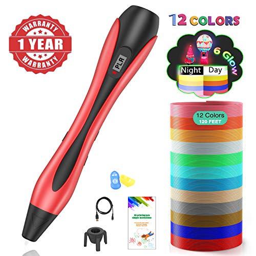 3D Stifte, 3D Pen mit 12 Farben Φ1,75 mm PLA Filament,【Neueste Version 2019】Lovebay 3D Drucker Stift mit LCD-Bildschirm für Kinder, Erwachsene, Kunst & handgefertigte Spielzeug, DIY Scribbler -