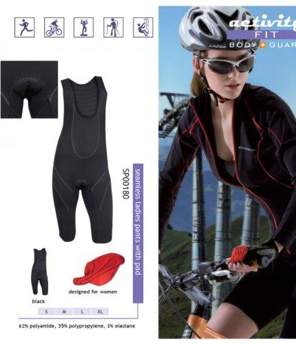 Brubeck Damen 1/2 Fahrradhose Radhose gepolstert mit Trägern, schwarz (Fit-Activity, Funktionshose)Gr. M, SP00180
