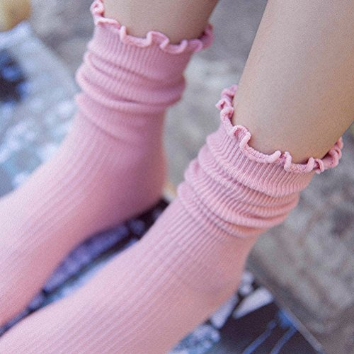 LUOEM Slouch Socken Stricksocken für Damen Mädchen Füße von 35-38 Größen (Rosa) - 3