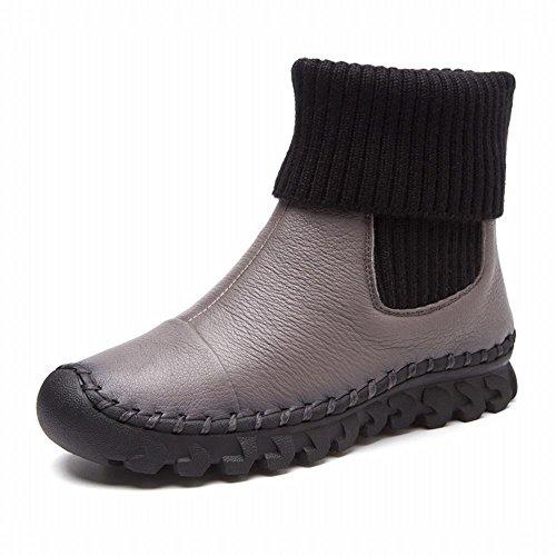 DXD Autunno Tondo Scarpe Casual Stivali Stivali Spessi Stivali Imbottiti Manica Grigio