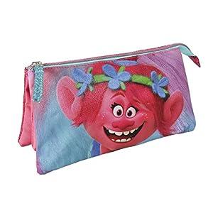 Trolls- Estuche portatodo plano, Color fucsia, 22 cm (Artesanía Cerdá 2100001805)