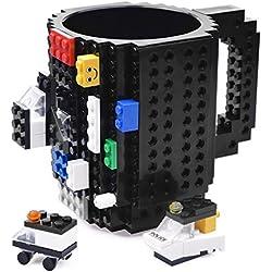 Taza Desayuno de Lego con desmontables. Originales Regalo de Navidad (Negro)