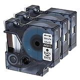 3x Etikettenband für Dymo D1 12mm x 7m Schwarz auf Weiß Dymo D1 45013 S0720530, kompatibel mit LabelManager 160, 210D, 360D, 450D, 500TS, LabelPoint 250, LabelWriter 450 DUO, 3M PL100, Rhino