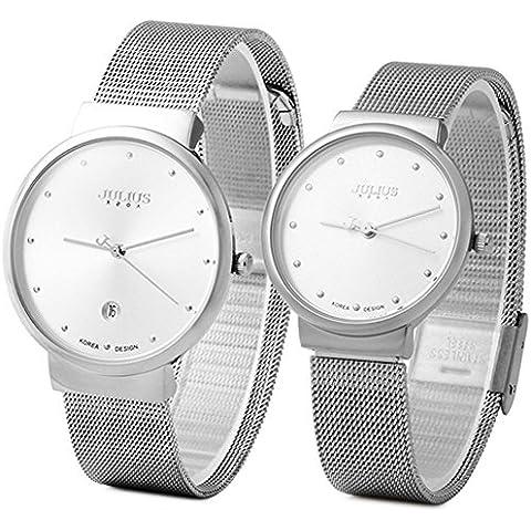 JULIUS JA-426 lui e lei Coppia Ultra sottile, con rete in acciaio INOX, con quadrante argento-Orologio da donna - 20 Diamanti Womens Watch