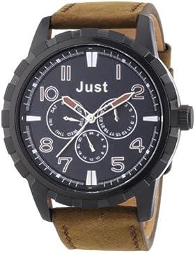 Just Watches Herren-Armbanduhr XL Analog Quarz Leder 48-S4997BK-BR