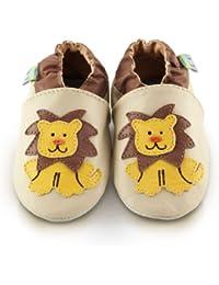 Snuggle Feet - Chaussons Bébé en Cuir Doux - Lion Affamé