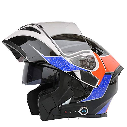 NBZH Casco Moto modulare Integrale Flip-up Integrato Bluetooth,M