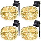 4 Pack Solar String Lights for Garden Patio Christmas Tree Indoor Bedroom, 100 LEDs Decorative Fairy Lighting Copper Wire Wat