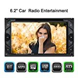 KKmoon 2 Din Autoradio 6.2' Universale Auto Stereo DVD Lettore HD Auto Stereo Radio BT multimediale d'intrattenimento touch screen USB/TF In-Dash FM Ingresso di Aux