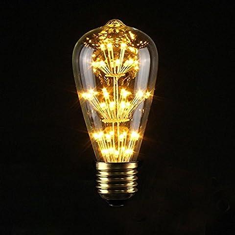 Xinrong LED-Glühlampe, im Vintage-Stil 220V, 3W, dekoratives Design, E27-Sockel, Warmweiß (2700K), für Innen- und Außenbereiche geeignet, vielseitig verwendbar