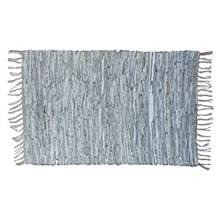 Asian Treasures Leather Chindi Rug 2x3 Feet - Hand Woven & Hand Stitched - Strips of Genuine Leather are Woven by Hand to get This Attractive Artisan Look - Fully Reversible (Grey/Silver 1007)