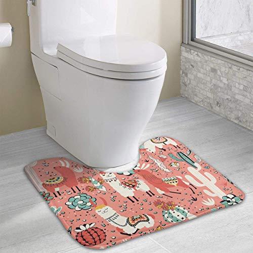 Uosliks Lama In Cactus Jungles Non-Slip U-Shaped Memory Foam Bath Carpet Mats Anti-Bacterial Machine Washable Quick Dry with Printed Designs -
