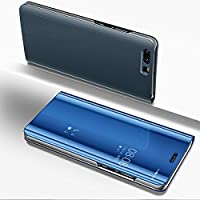 Huawei P9 Plus Mirror Case,Huawei P9 Plus leather Sleeve Cover,EUWLY Ultra Slim Clear View Mirror Leather Flip Stand Case Cover Shockproof Magnetic Bookstyle Strap Wallet Case Cover with Card Holder for Huawei P9 Plus + 1 x Blue Stylus Pen,Blue