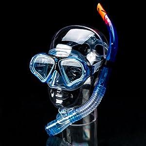 Ultrasport Aqua Speed - Set de esnórquel para adultos, formado por máscara de buceo, esnórquel y aletas, disponible en azul o negro azul