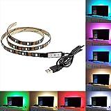 Skitic strisce LED di retroilluminazione TV alimentazione USB multicolore RGB tape, 100cm illuminazione backlight entertainment strisce LED autoadesive cambiare colore per schermo piatto LCD HDTV e PC desktop