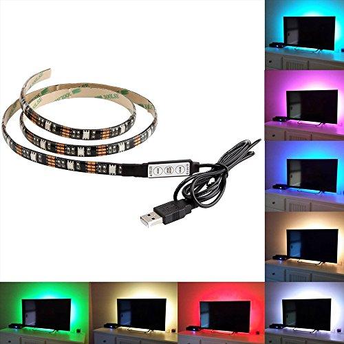 Skitic strisce LED di retroilluminazione TV alimentazione USB multicolore RGB tape, 100cm illuminazione backlight entertainment strisce LED autoadesive cambiare colore per schermo piatto LCD HDTV e PC