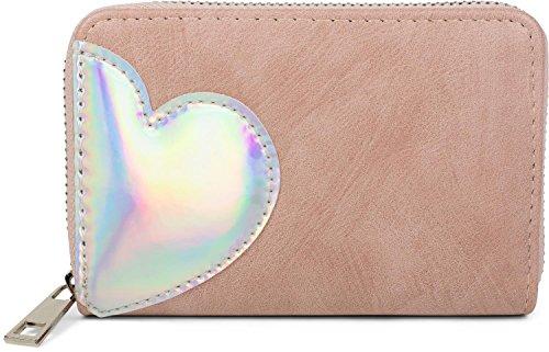 styleBREAKER Mini Geldbörse mit irisierender Metallic Herz Applikation, Reißverschluss, Portemonnaie, Damen 02040109, Farbe:Altrose -