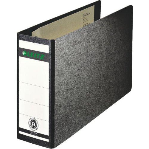 Leitz 10760000 Qualitäts-Ordner (für Sonderformate, Hartpappe (RC) mit Wolkenmarmor-Kaschierung, A5 quer, 8 cm Rückenbreite, 80 x 174 x 286 mm) schwarz