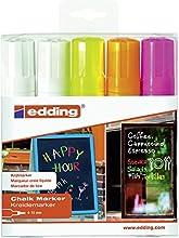 Edding - 4090-marqueur de 5 assortis 2 x blanc, 1 x rose/1 x orange fluo, 1 x jaune