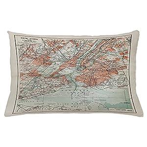 NYC – Funda de cojín con diseño de mapa antiguo de Nueva York de finales del siglo XIX, símbolo histórico antiguo, funda de almohada decorativa, 50,8 x 76,2 cm, color beige turquesa coral