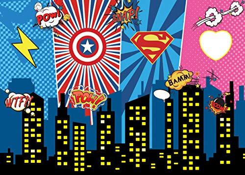 AIIKES 7x5FT/2,1Mx1,5M Vinyl Fotografie Hintergrund Superheld Stadt Nacht Baby Kinder Geburtstag Party Fotografie Hintergrund Dekoration Photocall für Foto Studio 11-394